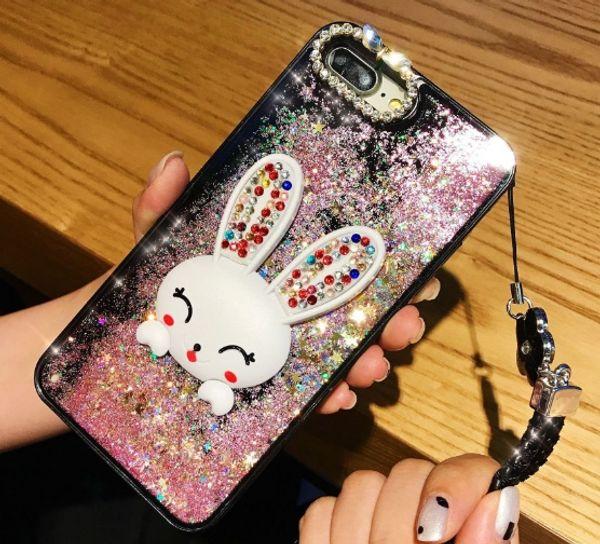 Für iphone x 8 7 6 6s bling luxus designer kaninchen halter voller schutz quicksand handy case mit lanyard
