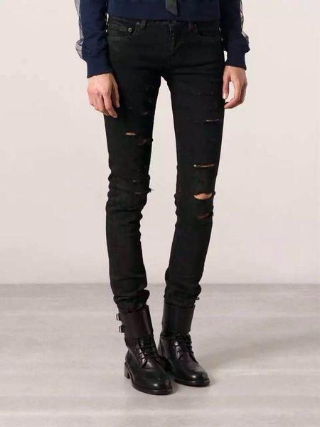 Осень черная дыра случайные рваные джинсы мужские брюки хип-хоп мужчины Slim Fit узкие джинсы джинсы