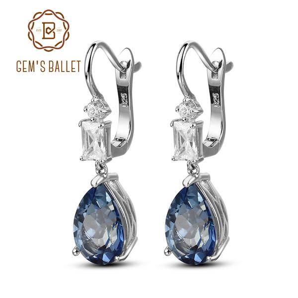 Gem's Ballet 7.57Ct Natural Iolite Blue Mystic Quartz Gemstone Drop Earrings 925 Sterling Silver Fine Jewelry For Women Wedding Y18110503