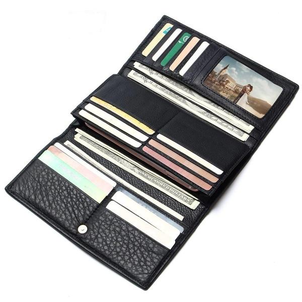2019 Men's China Manufacturer Wallet 100% Genuine Leather Black Color For Business Man Vintage Wallets Men Leather