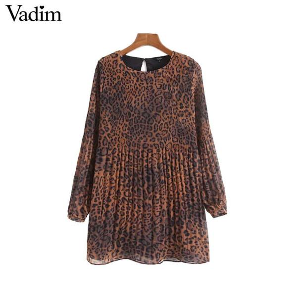 Vadim femmes en mousseline de soie imprimée léopard robe motif animal modèle à manches longues femme vintage robes occasionnelles robes QA907