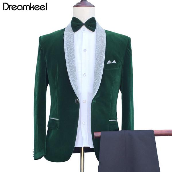 Wonderful Groom Male Wedding Prom Suit Green Slim Fit Tuxedo Men Formal Business Work Wear Suits 3Pcs Set (Jacket+Pants)