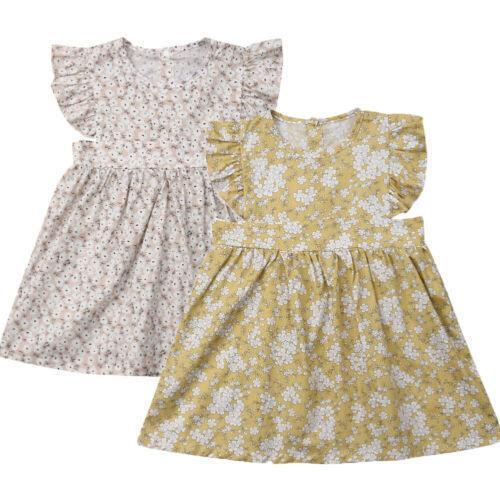 2-6years verano niño del bebé falda de flores sin mangas del vestido de la colmena de la princesa
