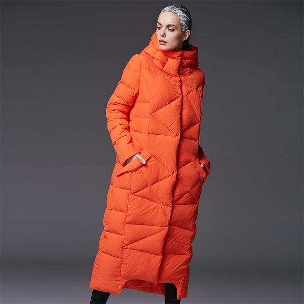 parkas extra longas das mulheres para mulheres inverno casaco quente acolchoado jaquetas marcas de luxo projeto engrossado preto com capuz laranja