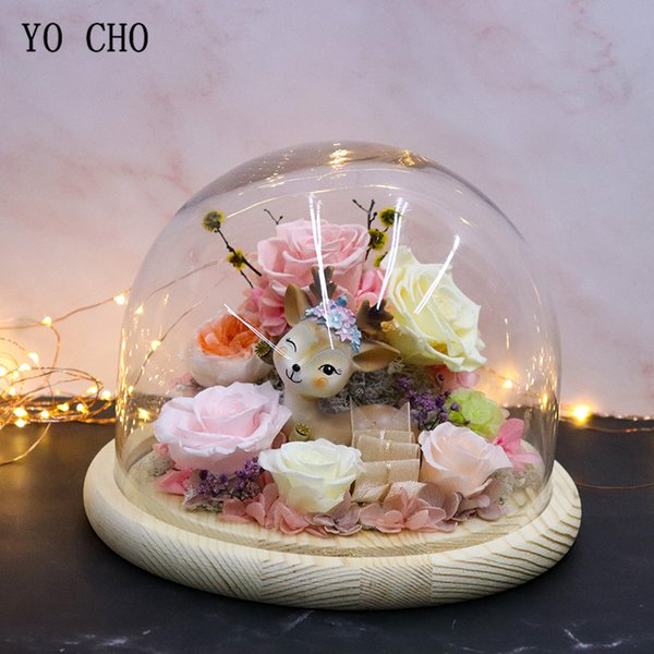 yo cho everlasting preserved rose flower in glass cover flower fairy real red rose deer room decor valentines day christmas gift