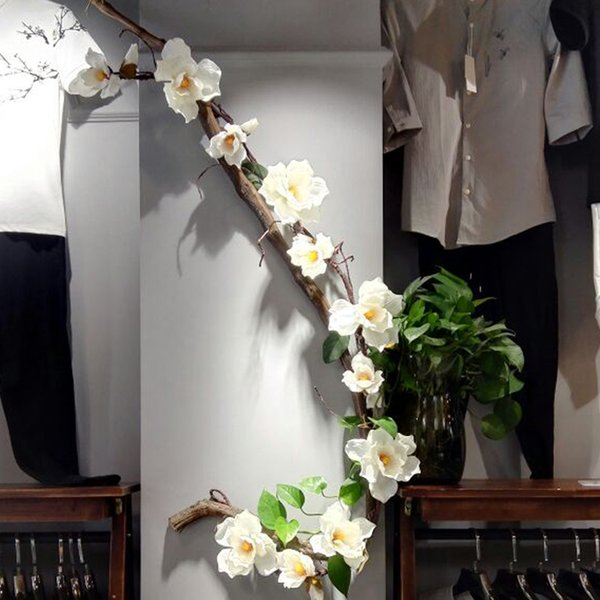 Rebe Künstliche Magnolie Blume Cane Gefälschte Blume Zweige Hochzeit Blumenkranz String Magnolia Silk Blumen Hochzeit Dekoration