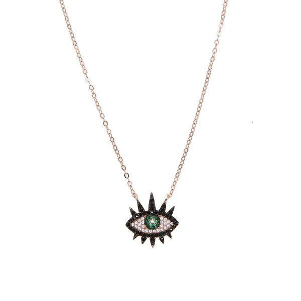 2019 new arrived lucky turkish jewelry evil eye eyelash fashion necklace with colorful cz for women lady wedding jewelry gift