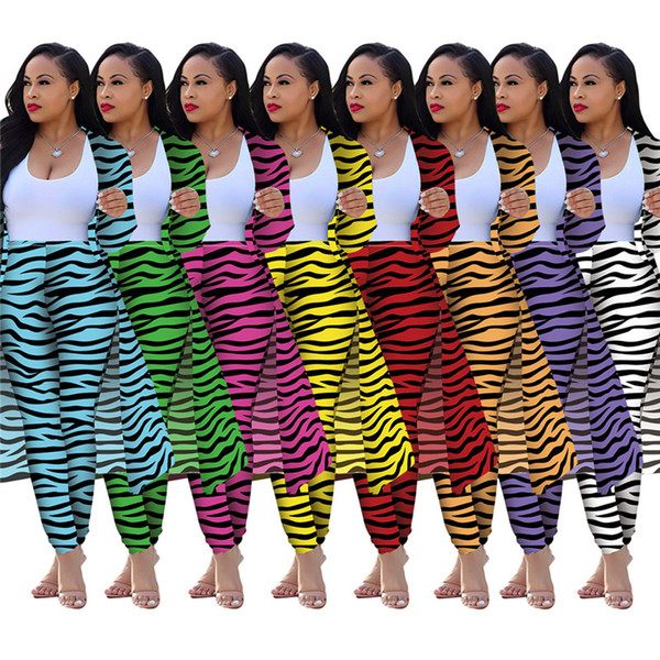 Le donne più i pantaloni di formato 2 pezzo zebra insieme dei vestiti autunno inverno Cardigan a righe pantaloni tuta leggings Giacca attrezzatura della tuta della tuta sportiva 1897