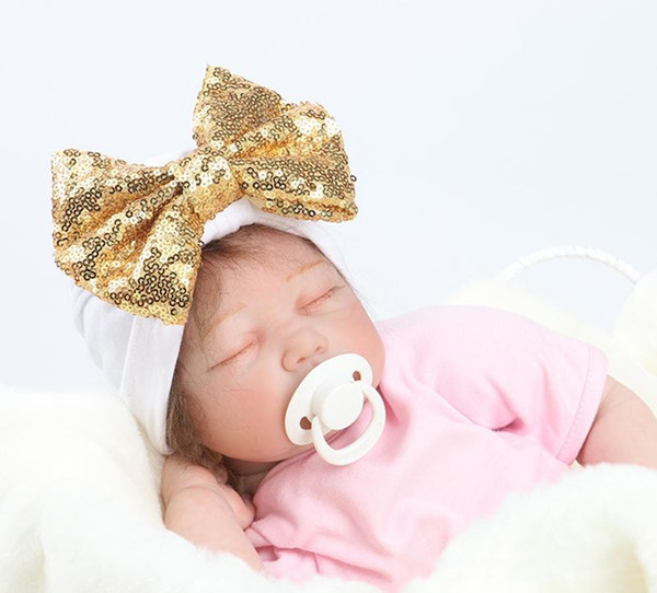 Baby Nursery Cotton Newborn Baby Caps with Sequin Bow Infants Statement Photography Props Baby Shower Gift Idea Babe Hats