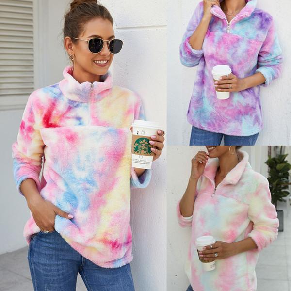 New fashion Women Tie dye fleece sherpa pullover zipper soft warm Long Sleeve tie dye Paint Splatter print fleece Sweatshirt coat