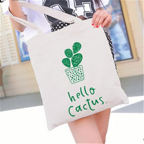 Pop2019 Pure Fresh White Black Style Canvas Tote Bag Cartoon Cactus Plant Girl Printing Handbags Daily Office Practical Bags Wholesale