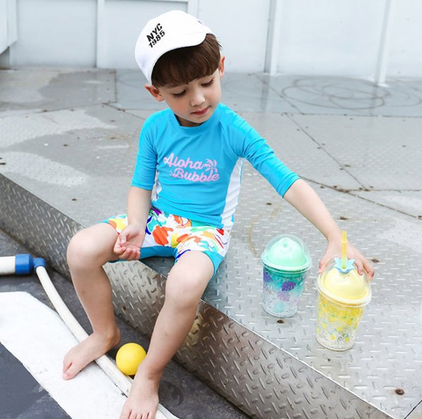 Children swimwear boys swimsuits kids letter printed half sleeve spilt diving suit high quality kids colorful patten sports swimsuits F3623