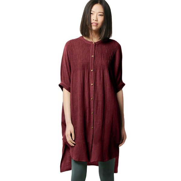 Vintage Women Cotton Blouse Solid Pleated Buttons Irregular Hem Shirt Split Half Sleeve Loose Long Ladies Tops and Blouses 2019