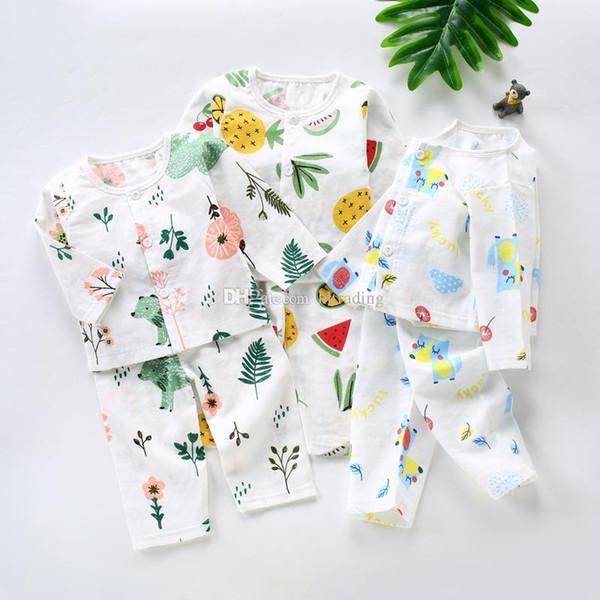 Ropa de diseñador para niños niñas niños Pijamas trajes de algodón niños imprimir tops + pants 2 unids / set 2019 Primavera Otoño ropa de bebé Sets C6763