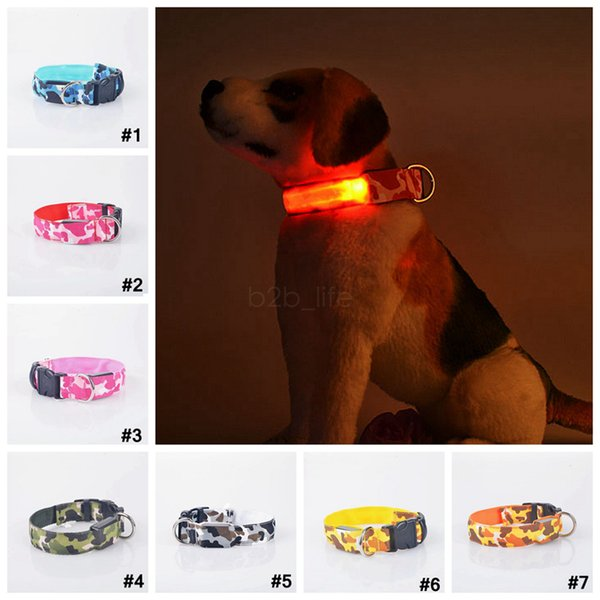 Cat Dog Camuflaje Iluminación Led Noche Pet Flash Luminoso Tracción Camo Ring Collar Accesorios 7 Colores 500 UNIDS AAA2206