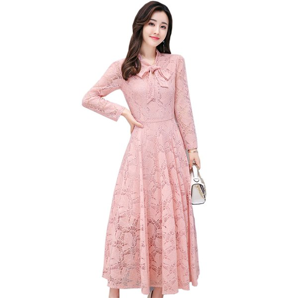 Elegant Ladies Long Dress Female Lace Hollow Out Bow Party Dress Fashion Long Sleeve Slim Bottoming Dress Women Vestidos Re0510