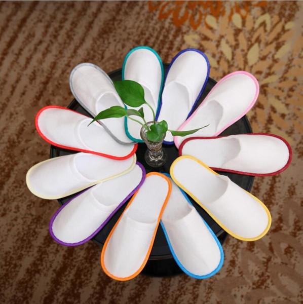 Kaymaz Tek Kullanımlık Terlik Tek seferlik renkli kenar Tek kullanımlık İç ayakkabı Nefes Alabilir Yumuşak Tek Kullanımlık Terlik