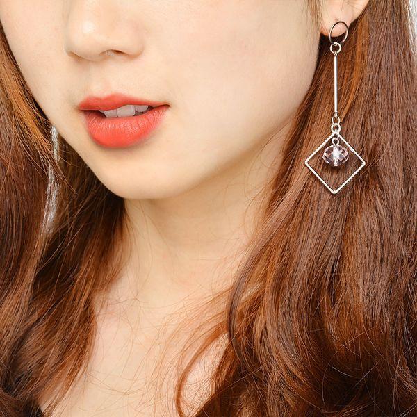 Simple Geometry Diamond Dropping Crystal Ear Nail fashion love hoop diseñador mujer pendiente Joyería conjuntos marca mujer pendientes para mujer
