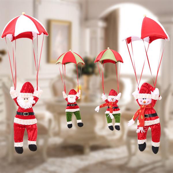Weihnachtsbaum Hängen Dekor Fallschirm Schneemann Weihnachtsmann Puppe Gefüllte Anhänger Ornamente Dekorationen Weihnachtsgeschenk 4 Farben SHH7-1731