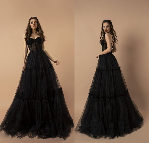 Sexy Black Spaghetti Prom Dresses Tiered Tulle Girls Pageant Gowns Criss Cross Back Floor Length Formal Party Women Clothing
