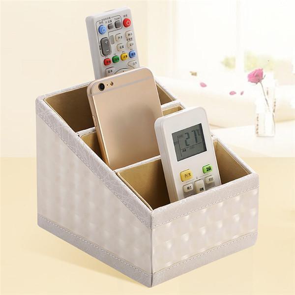 Aufbewahrungsbox Leder Telefon / TV Fernbedienung Aufbewahrungsbox Home Desk Organizer Holder Zum Aufbewahren von Plastikartikeln #LS