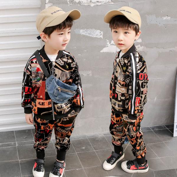 0476e1f7678a 2019 весна детская дизайнерская одежда для мальчиков комплекты одежды для  мальчиков спортивный костюм модная куртка +