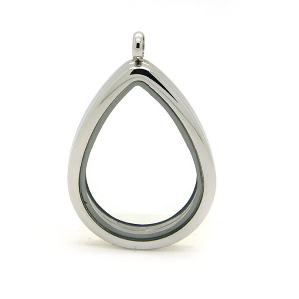 Fashion High Quality Drop shape Stainless Steel Magnetic Floating Glass Locket 30MM Pendant Necklace for Women Girl Jewelry