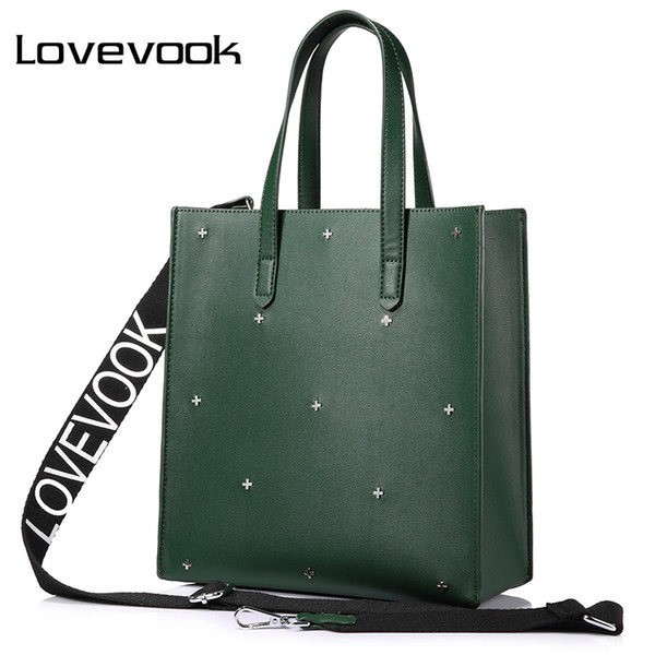 LOVEVOOK women handbags high quality PU female shoulder messenger bags tote large capacity famous brands luxury designer Black