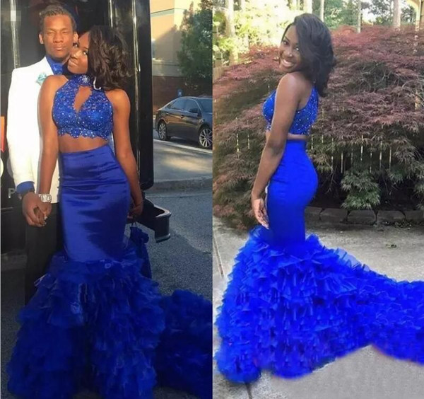 2019 Royal Blue Lace Two Pieces Prom Dresses High Neck Beaded Organza Layered Mermaid Party Evening Wear Long Zipper Back Homecoming Dress