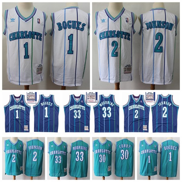 huge discount 1e042 48427 2019 2020 Rerto Hornets Mitchell & Ness Swingman Basketball Jersey 33  Alonzo Mourning 2 Larry Johnson 1 Muggsy Bogues 30 Dell Curry Retro Jersey  From ...