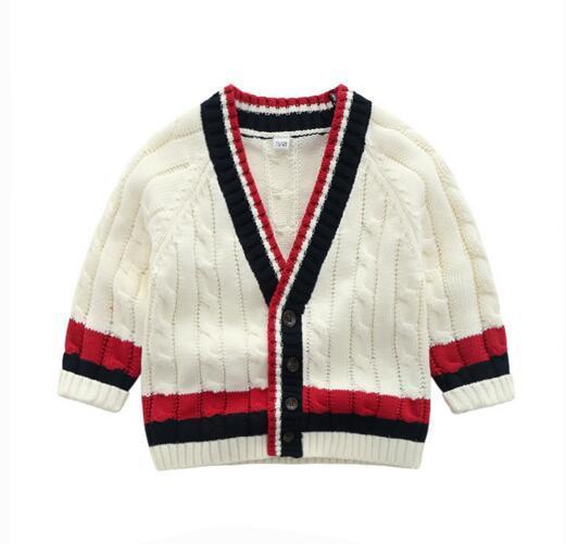 INS bebé ropa para niños suéter Cardigan con botones suéter Color blanco 100% algodón Boutique Boy niña primavera otoño suéter B1211