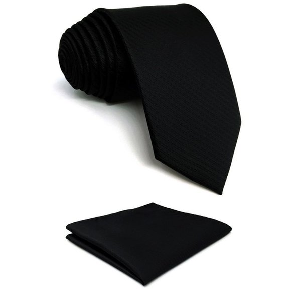 819b161097fe Silk Black Solid Mens Necktie Tie Fashion Wedding Gift Acceossories X-long Pocket  Square Set