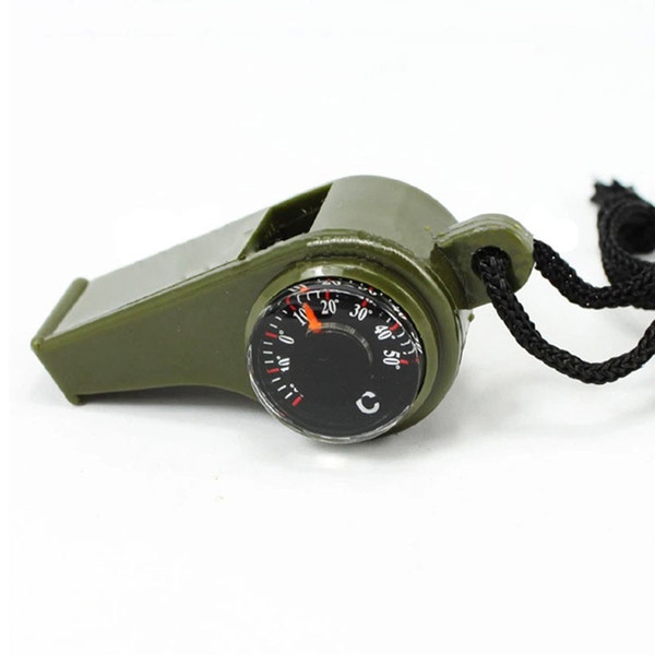 3 in1 Outdoor Emergency Survival Gear Whistle Compass Thermometer Free Shipping