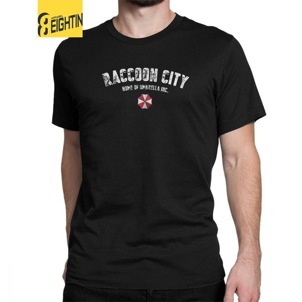 Resident Evil T-Shirt Raccoon City Home Of Men T Shirts Umbrella Corporation Game Awesome Tees Short Sleeve Pure Cotton Clothes