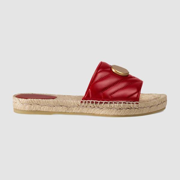 jisn1688 / Moda mujer zapatillas causales rojo 10 mm acolchado sandalias de cuero con plantilla de cuerda tamaño euro 35-41