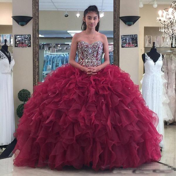 bab6bd10 Strapless Sweetheart Organza Beaded Bodice Burgundy Ball Gown Evening Dress  Fuchsia Quinceanera Gown robe de soiree