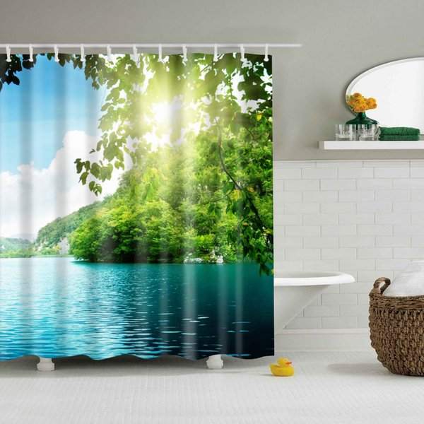 Waterproof Polyester fabric 3D Bath curtain forest for Bathroom curtain Green Plant beach Shower curtain Long 180*200cm