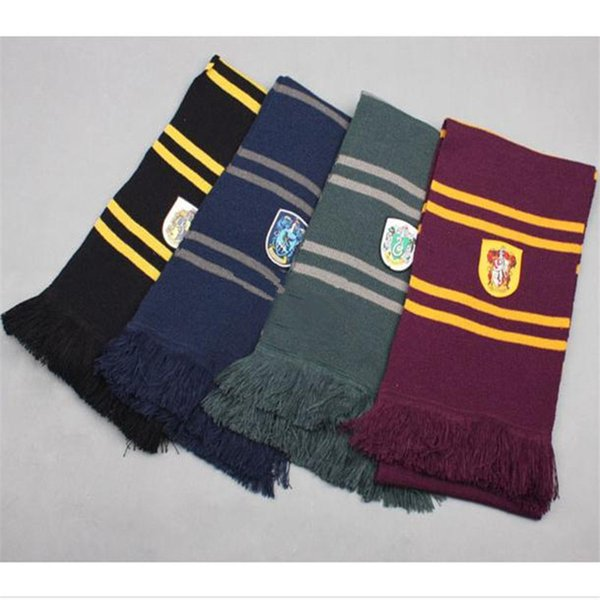 Harry Potter Schals Slytherin Gryffindor Ravenclaw Hufflepuff Strickschal mit Quasten Winter verdicken Wolle warme Cosplay-Kostüme Schals