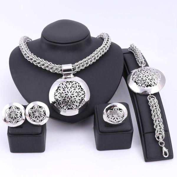 Las últimas Luxury Gran Dubai plata plateó los sistemas de joyería de moda de Nigeria perlas africanas de boda del traje del anillo del pendiente del brazalete del collar