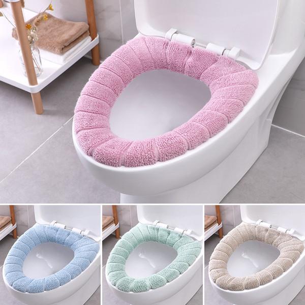 Rahat Kadife Mercan Banyo Klozet Kapak Yıkanabilir Closestool Standart Kabak Desen Yumuşak Yastık Tuvalet Çıtası Aksesuarları