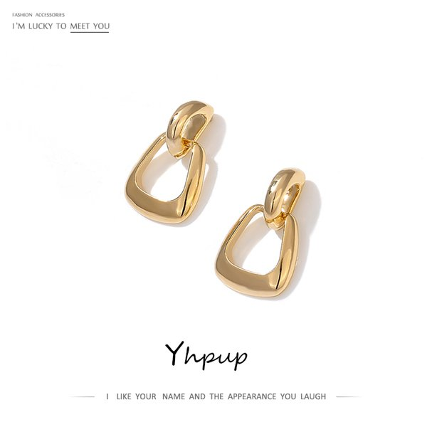 yhpup hollow geometric dangle earrings copper golden earrings fashion simple design jewelry for female punk office s925 post new
