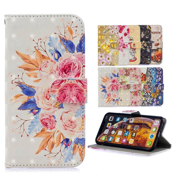 3D Bling Çiçek Cüzdan Kılıf Samsung Galaxy Için A20 A30 A40 A50 A70 M30 Karikatür Kayış Kelebek Londra Standı KIMLIK Kartı Cilt Kapak 50 ADET