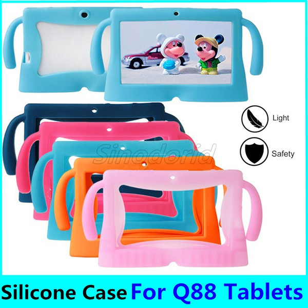 Kids Soft Silicone Rubber Gel Big Cute Ears Tablet PC Case For 7 Inch Q88 Anti-dust Drop Resistant Protective Cover