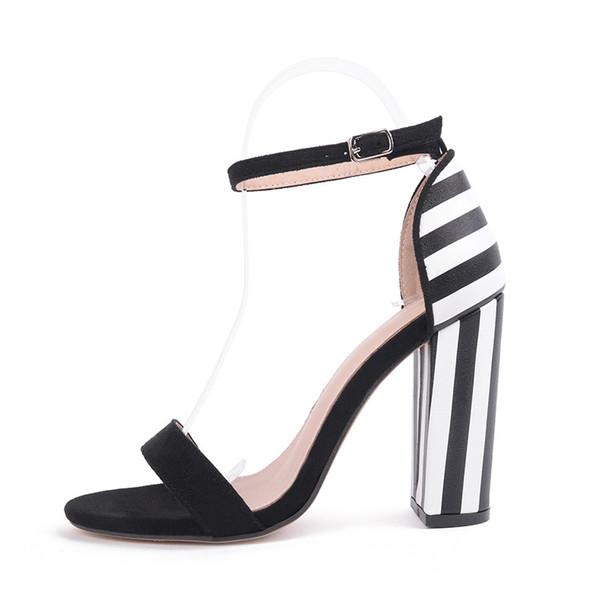 Yeni yaz kadın gladyatör sandalet stripes seksi yüksek topuklu bayan ayakkabı moda burnu açık blok topuklu büyük boy sandalias mujer
