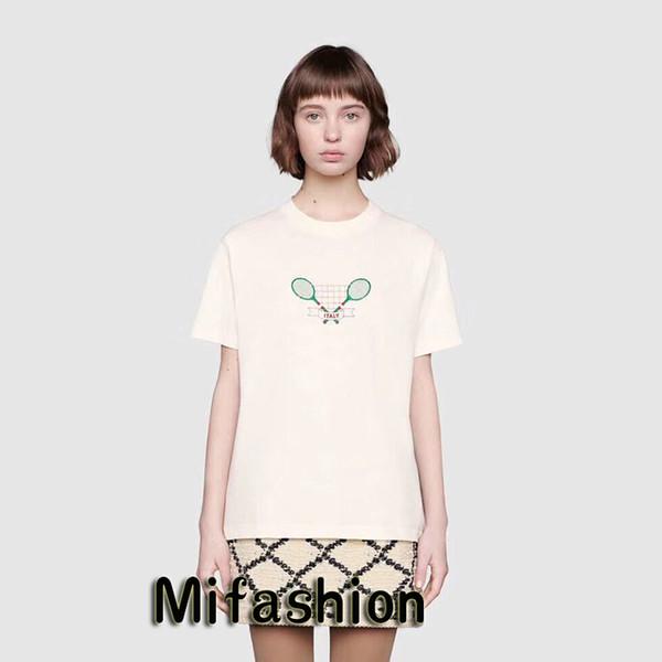 19ss de lujo Europa Italia raquetas de tenis camiseta moda mujer ropa para hombre diseñador camisetas Casual algodón Tee Top