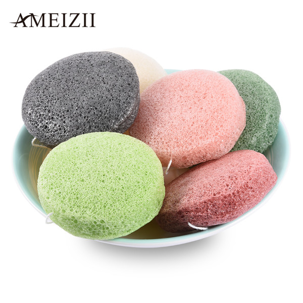 Round Shape Natural Konjac Sponge Cosmetic Puff Facial Exfoliator Wash Cleansing Flutter Sponge Skin Care Cleanser Tools