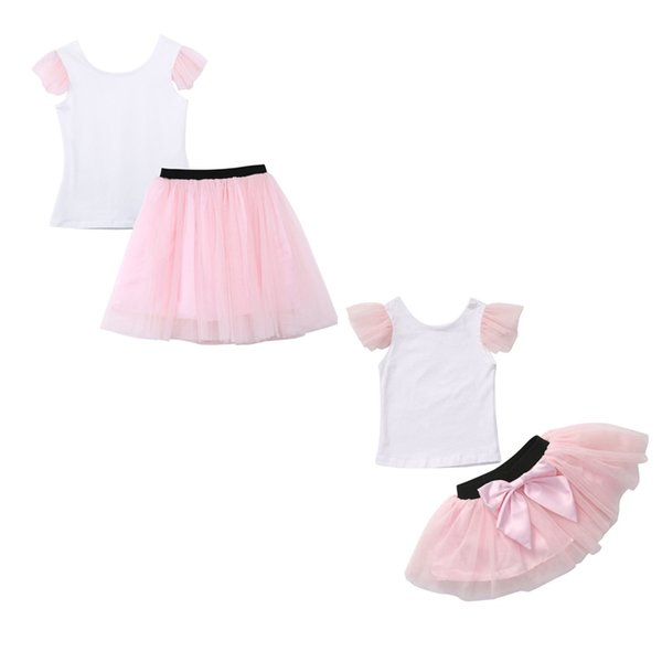 Sweet Mother Daughter Casual Summer T-shirt Skirt Pink Tulle Short Skirt Matching Outfits USA