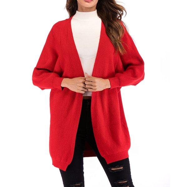 Automne Hiver Femmes À Tricoter Cardigan Pull Streetwear Casual Bat À Manches Longues Solide Tricoté Cardigan Survêtement Manteau Femme