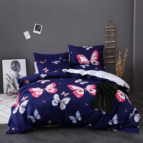 Funda nórdica juego de cama edredón funda con mariposa impresión de microfibra cubierta de rey tamaño king