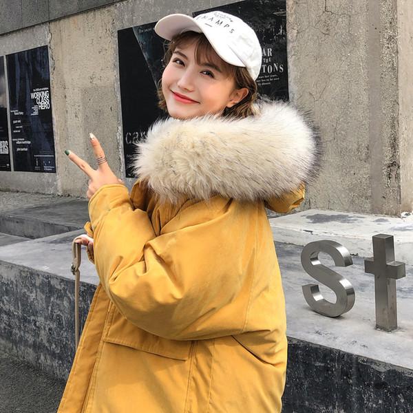 Cappotto lungo inverno donne 2018 grande collo di pelliccia con cappuccio giacca di cotone donne di colore della caramella spessa giacca Parka caldo tuta sportiva